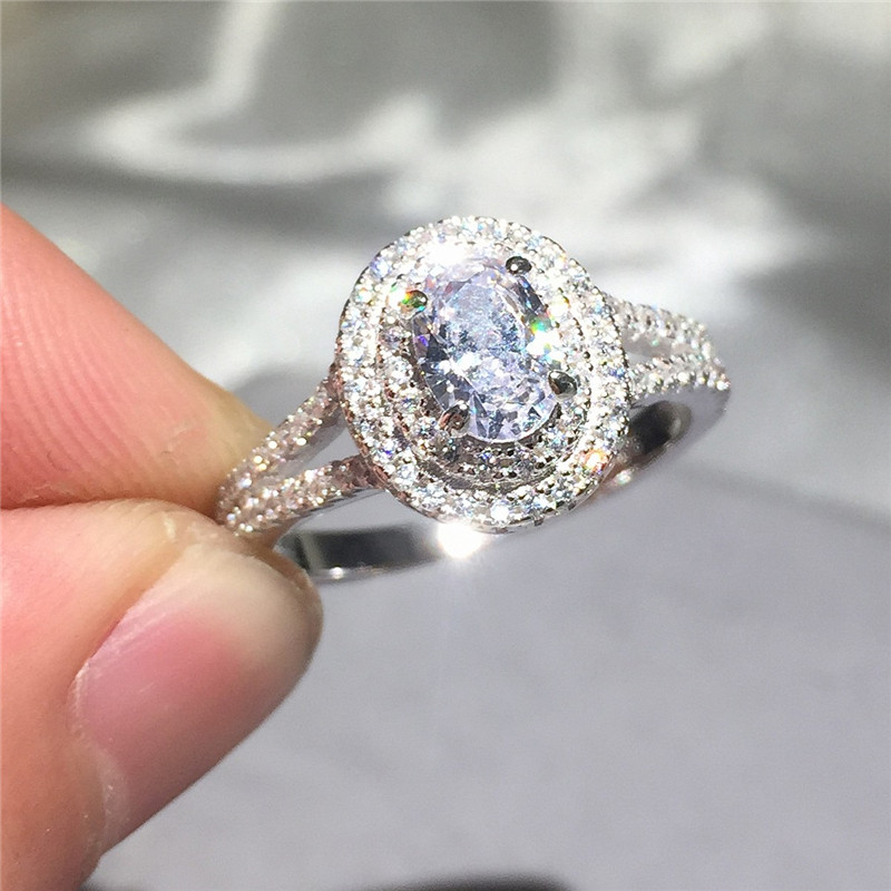 Hot Sale Real 925 Sterling Silver Wedding Ring Finger Luxury Cushion cut SONA CZ diamant Jewelry For Women Engagement Rings Anel pre-engagement ring