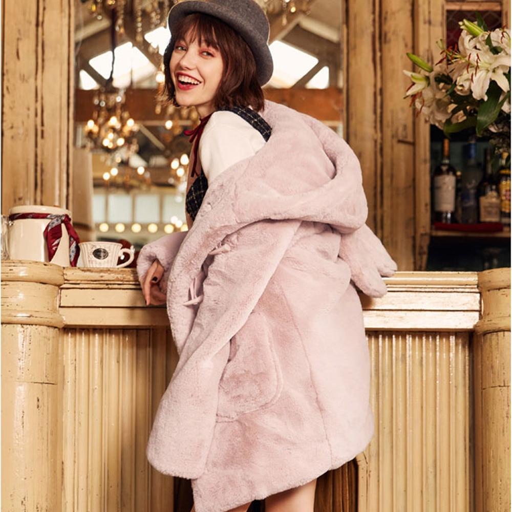 Capuche Peluche Chat 2018 Femmes Poches À Chaud Oreille En D'hiver Avec Gris Lapin Outwear Rose Droite Fourrure Manteau Lxunyi Veste q4FxRXwq