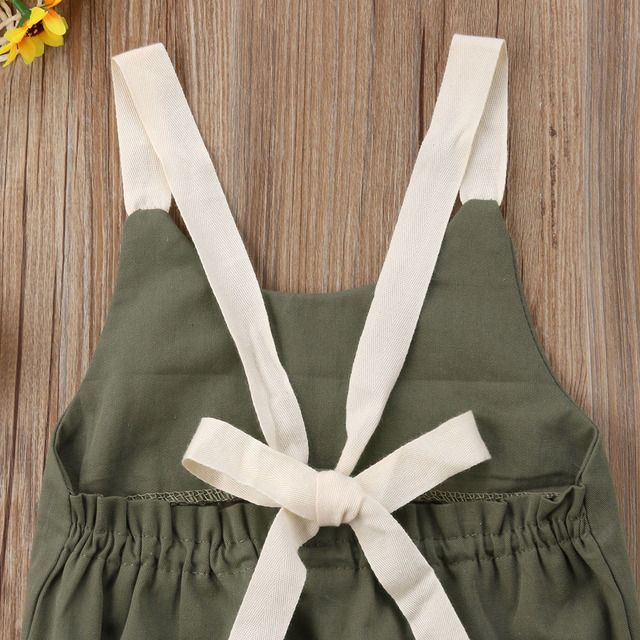 Summer Bowknot Backless Romper Casual Plain Outfit For 0-24 Months Baby 4