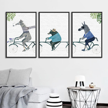 Nordic Minimalist Abstract Animal Cute Cartoon Painting Wall Art Pictures for Living Room Home Decoration Framed Canvas Picture