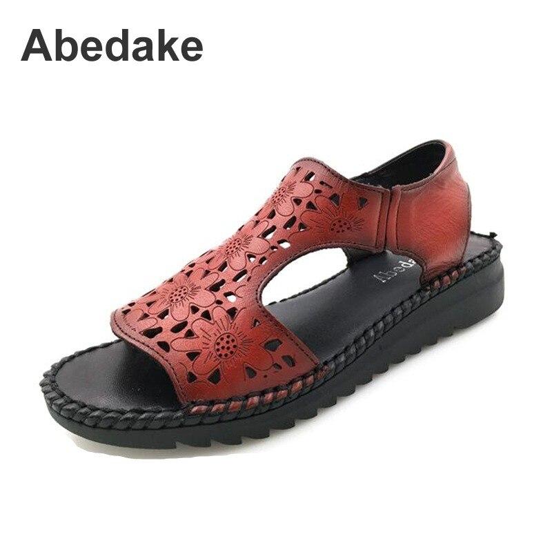 Abedake brand women sandals handmade genuine leather women sandals hole shoes casual sandals women flat summer shoes sandals classic leather sandals classic leather sandals women sandals summer sandals