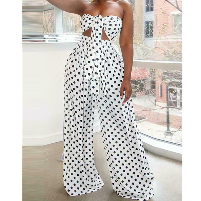 2PCS Women Polka Dot Outfits Jumpsuits Wrap Chest Crop Tops + Wide Leg Long Pants Casual Summer Beach Jumpsuit Romper