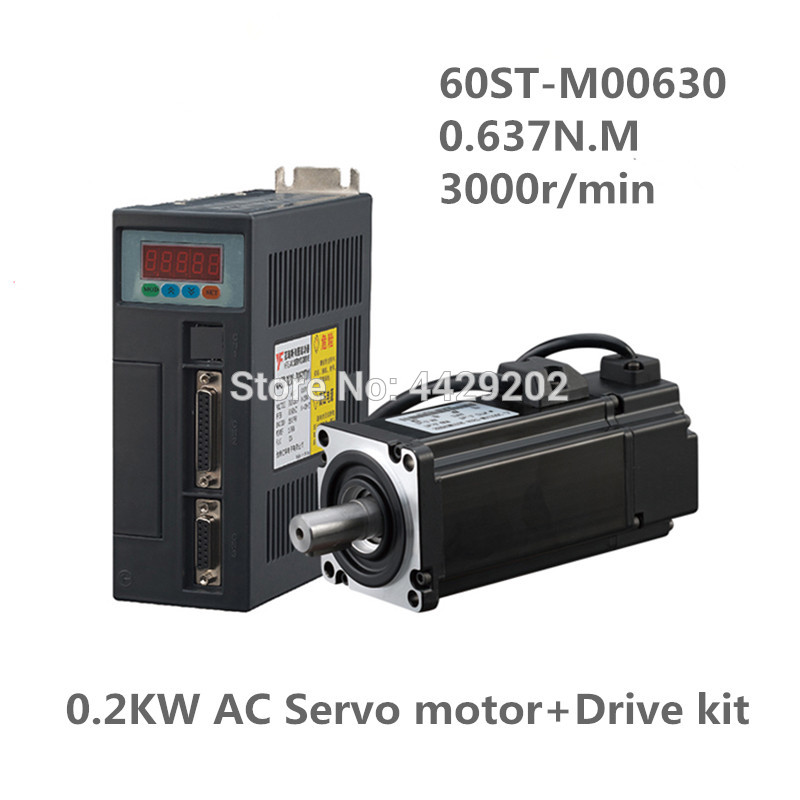 60ST-M00630 <font><b>220V</b></font> <font><b>200W</b></font> AC Servo <font><b>motor</b></font> 0.2KW 3000RPM 0.637N.M. Single-Phase ac drive permanent magnet Matched Driver AASD-10A image