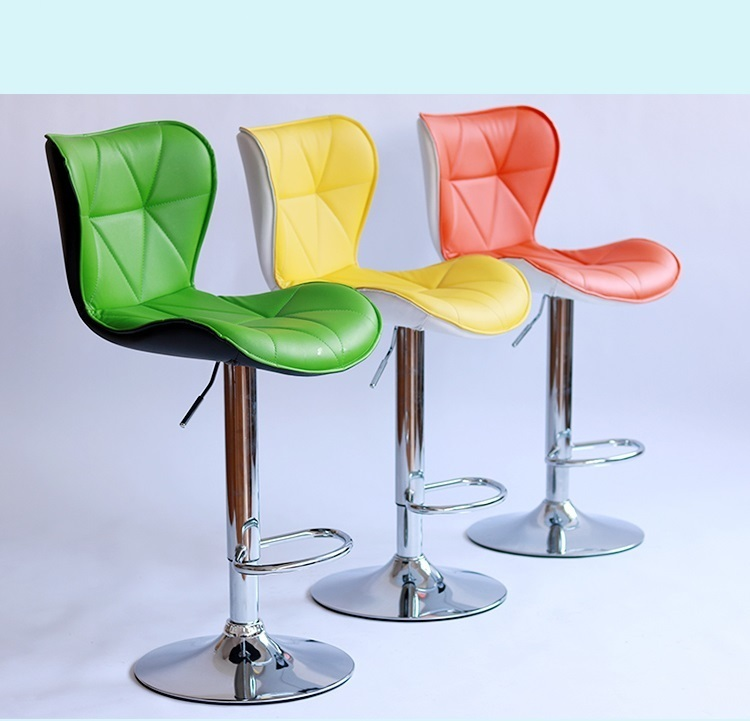 Southeast Asia fashion style bar chair retail and wholesale Nordic Country Furniture lift Stool green yellow red orange color continental bar chairs rotating chair lift back bar stool reception tall silver beauty makeup chair