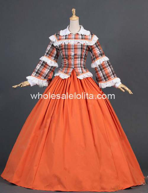 New Orange Civil War font b Tartan b font Blouse Reenactment Period Formal Dress Theater Clothing