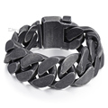 24mm Mens Chain Boys Big Curb Link Gunmetal Tone 316L Stainless Steel Bracelet HEAVY Wholesale Jewelry Extra Length 1cm LHB333