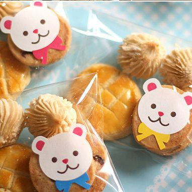 Three Color Cute Bear Sticker Set Packaging Party Giftmuffins