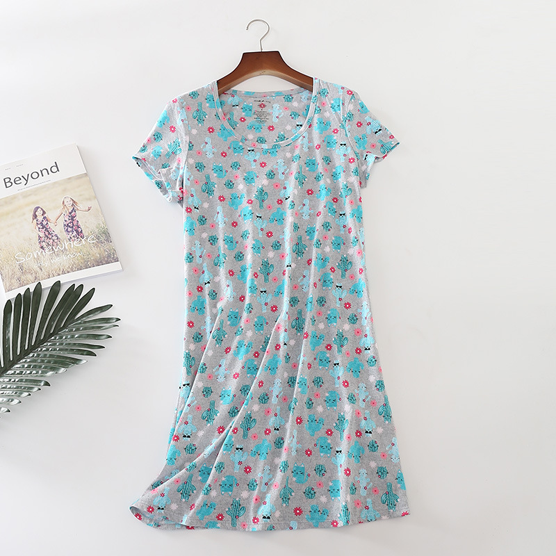 8f42926c74 Cute Nightgown Nightdress Women New Christmas Print Leaf Cactus Loose Dress  Knitting Cotton Short Sleeve Loose Lounge D87291-in Nightgowns    Sleepshirts ...