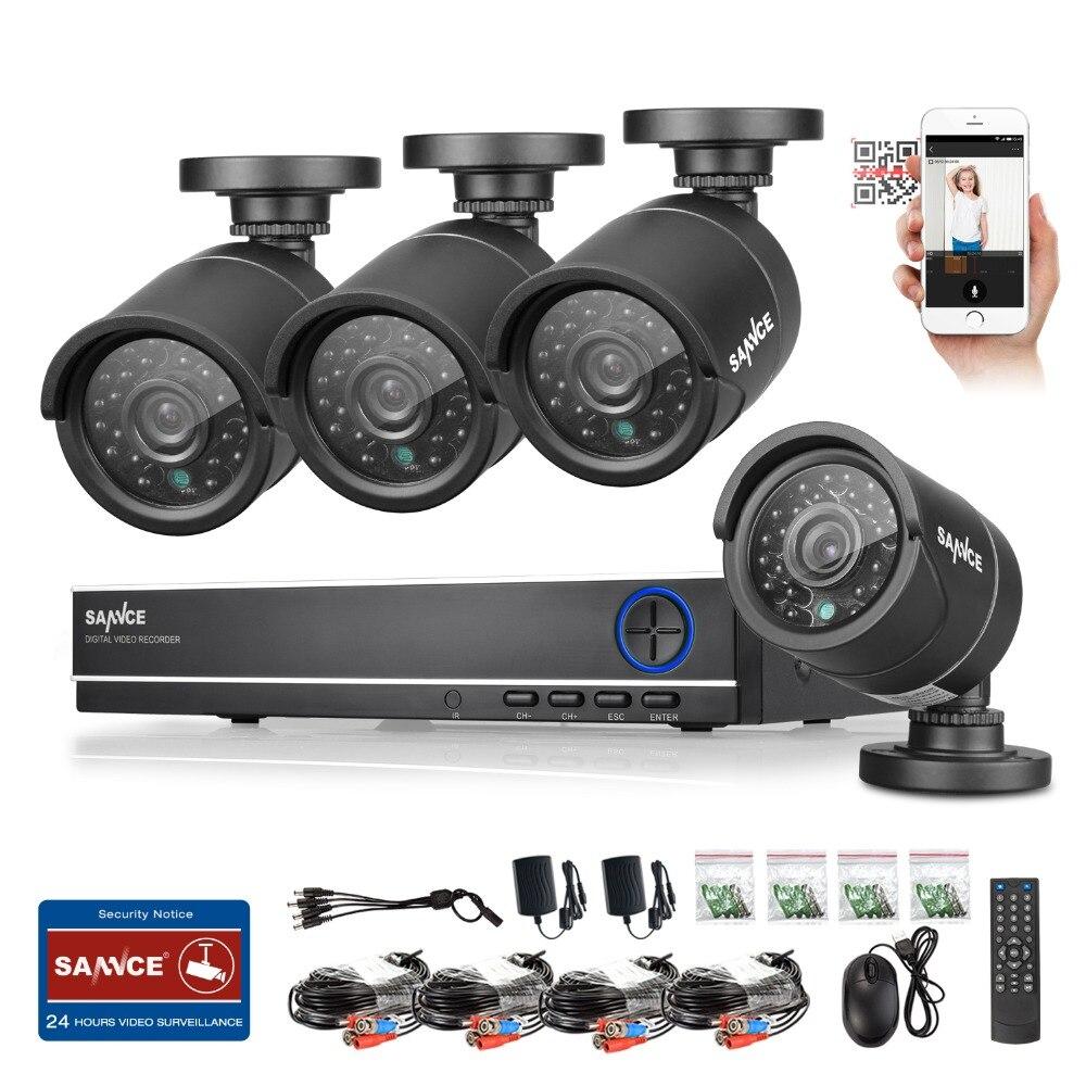 SANNCE 4CH CCTV System 1080P HDMI Output Video Surveillance DVR Kit with 4PCS 1280TVL 720P Home CCTV Security Camera System