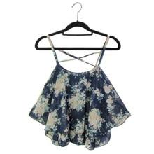 Sexy Crop Tank Top Print Chiffon Sleeveless Women Camis Cropped Ladies Spaghetti Strap Flower Floral Blouse 2016 Fashion Summer