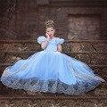 2016 Princesa Elsa Azul Cordón de Las Muchachas Del Vestido de Partido de Los Niños de Manga Corta Bebé Niña Princesa Ropa de Fiesta de Disfraces de Halloween Para Niños # DA
