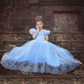 2016 Princess Elsa Blue Girls Lace Children Party Short Sleeve Dress Baby Girl Princess Party Clothes Halloween Costumes Kids#DA