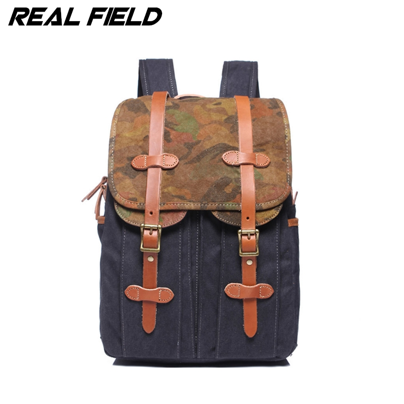 Real Field Travel Bag Large Capacity Men Backpack Canvas Weekend Bags Multifunctional Travel Bags Zip Laptop Bag for Student 267 mybrandoriginal travel totes wax canvas men travel bag men s large capacity travel bags vintage tote weekend travel bag b102