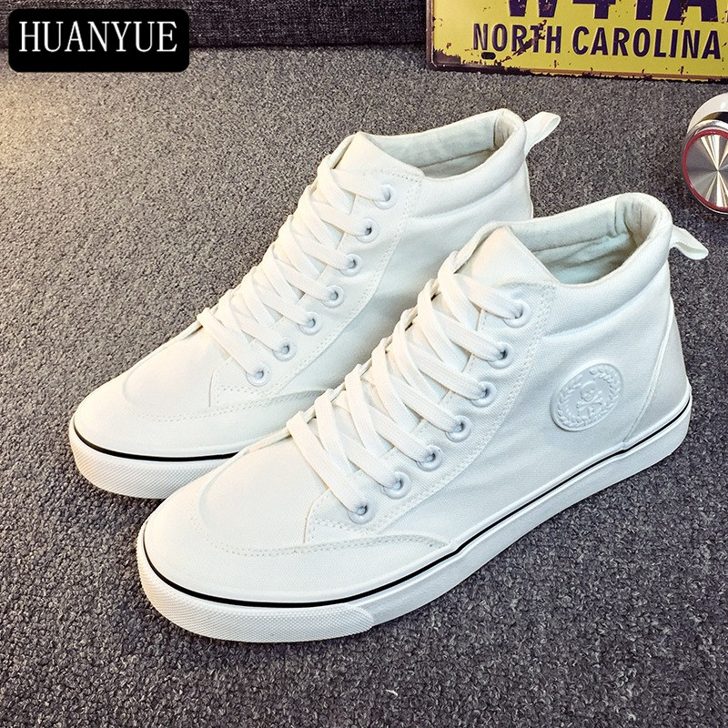 New 2018 Fashion Solid White Black Canvas Shoes Platform Men's Flats Breathable Lace Up Men Casual Shoes High Top Loafers
