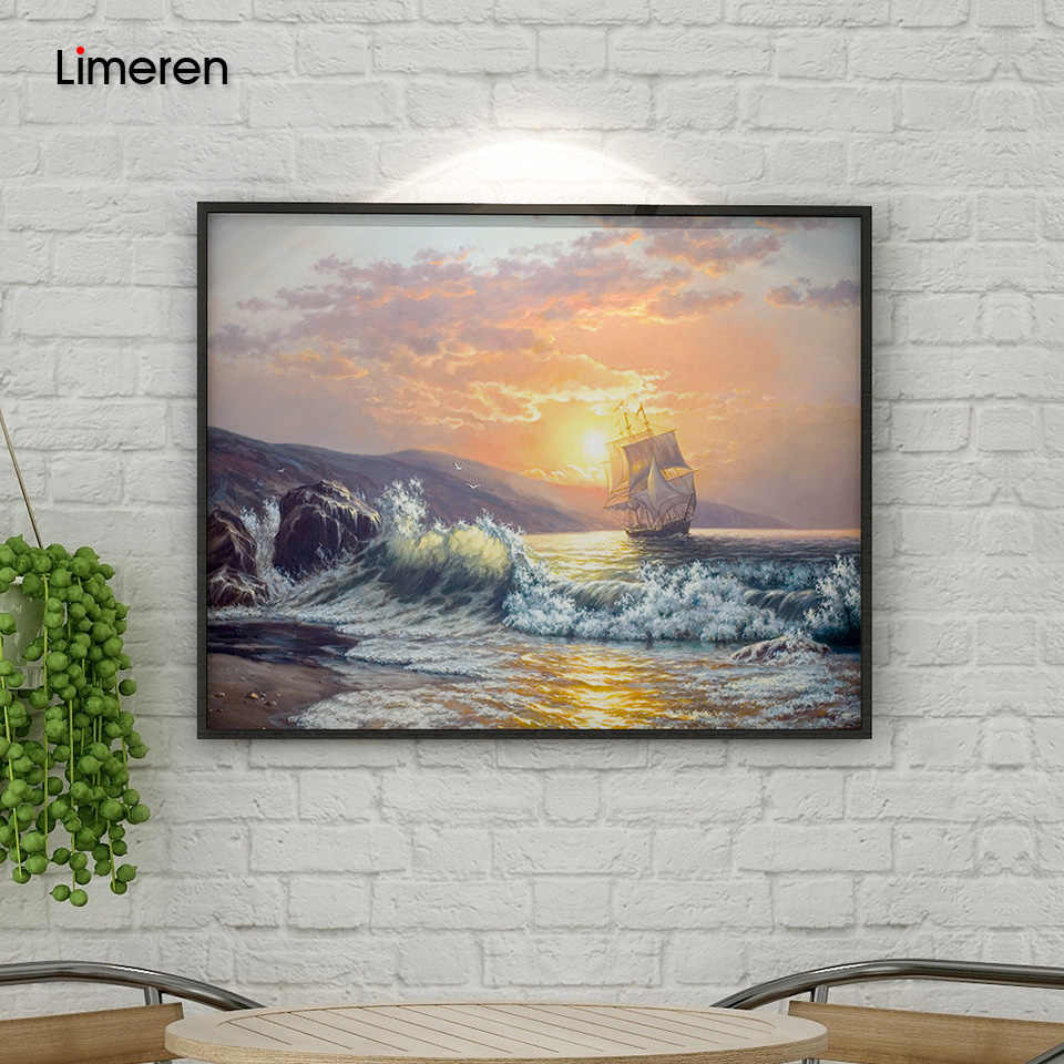 Frameless Sunset Wave Seascape DIY Painting By Numbers Kits Painting Calligraphy Hand Painted Coloring By Number For Unique Gift