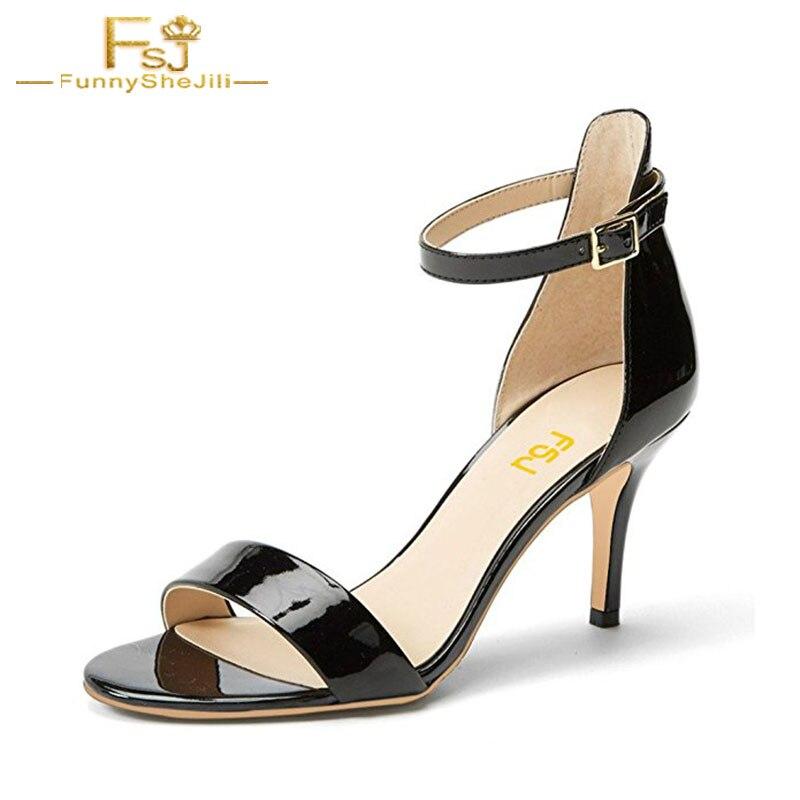 2018 Women Classic Summer Sandals With Open Toe Mid Heels 7cm Ankle Strap Shoes Comfort <font><b>Size</b></font> <font><b>7</b></font>&37 Black/<font><b>Nude</b></font> Ladies Shoes FSJ