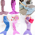 6 Color Mermaid Blanket Yarn Knitted Mermaid Tail Blanket Handmade Crochet  Kids Adult Throw Bed Wrap Super Soft Sleeping Bed