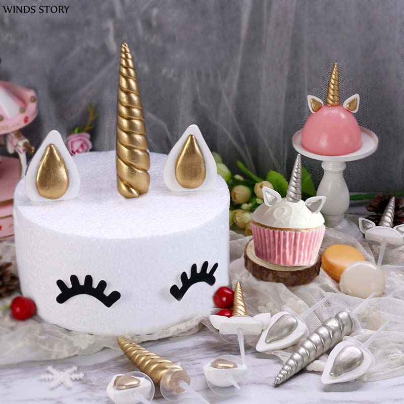 Hot Unicorn Cake Toppers Unicornio Horn Ears Cake Decorations Cupcake Toppers Baby Birthday Party Decorations Baking Tools