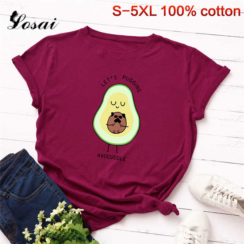 Vrouwen T Shirts 3XL 4XL 5XL Plus Size T-shirt Cartoon Avocado Patroon Korte Mouw Tops Koreaanse Tshirt Harajuku Tee shirts