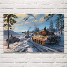 winter world war battle field tank fighter living room decoration home wall art decor wood frame fabric posters KF690(China)