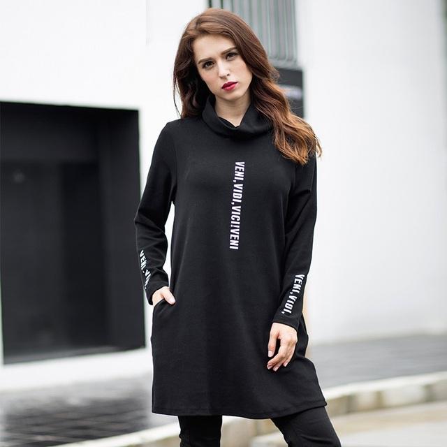 New2016 Otoño invierno femenina cuello alto camisa larga camiseta de algodón carta bordado más tamaño t shirt bottom vestido XXXXXL 6072