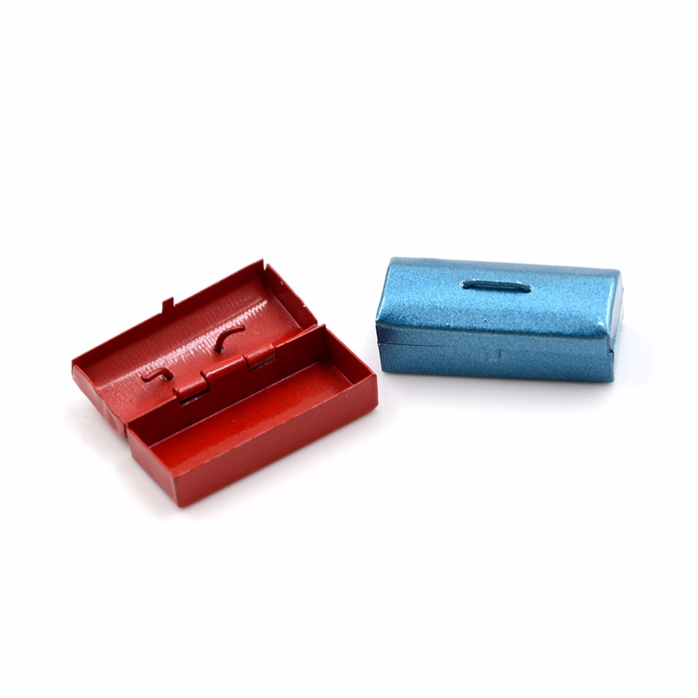 1//12th Dollhouse Miniature Accessories Blue Metal Tool Box Case Model Toy