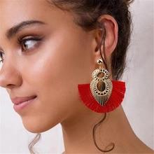 2019 New Boho Metal Teardrop Earrings Gold Red Tassels Long dangle for Women Jewelry 90s