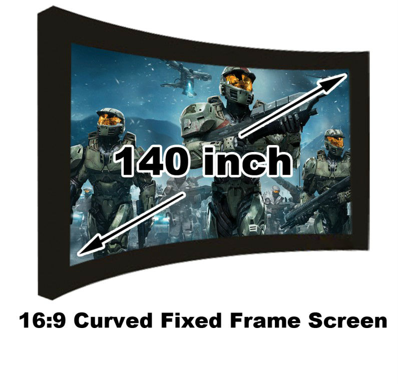 Professional Cinema 140 inch Curved Fixed Frame DIY Projection Screen 16:9 Matt White High Gain For HD Projector 3D Home Theater low price 92 inch flat fixed projector screen diy 4 black velevt frames 16 9 format projection for cinema theater office room