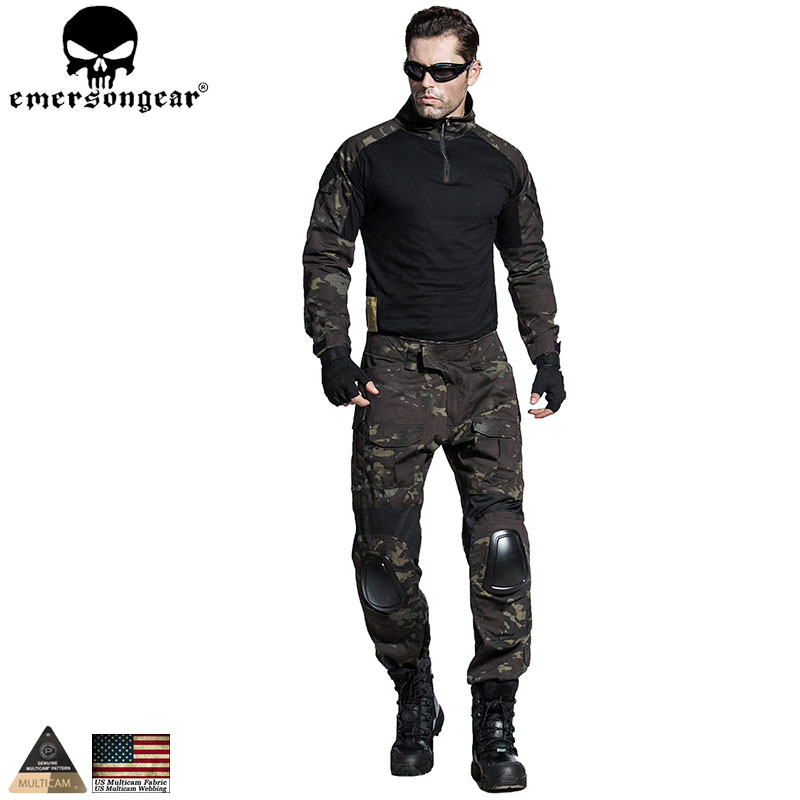 Emersongear Gen2 Combat uniform Shirt&Pants with knee elbow pads Tactical Gear Military Camouflage MCBK Multicam Black EM6971 emersongear gen 2 bdu airsoft combat uniform training clothing tactical shirt pants with knee pads multicam tropic em6972