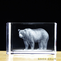 Free shipping!! 50*50*80mm Engraved Crystal Paperweight, K9 Crystal Cube With 3D Bear For Home Decoration