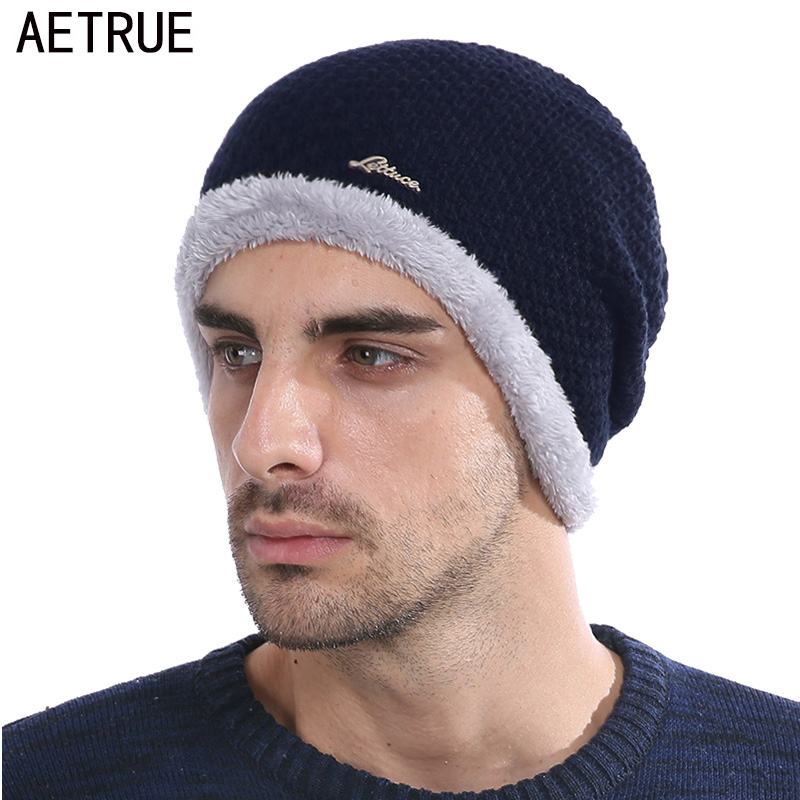 AETRUE Knitted Hat Men Skullies Beanies Winter Hats For Men Women Bonnet Warm Thick Soft Brand Wool Gorros Male Beanie Hat Cap