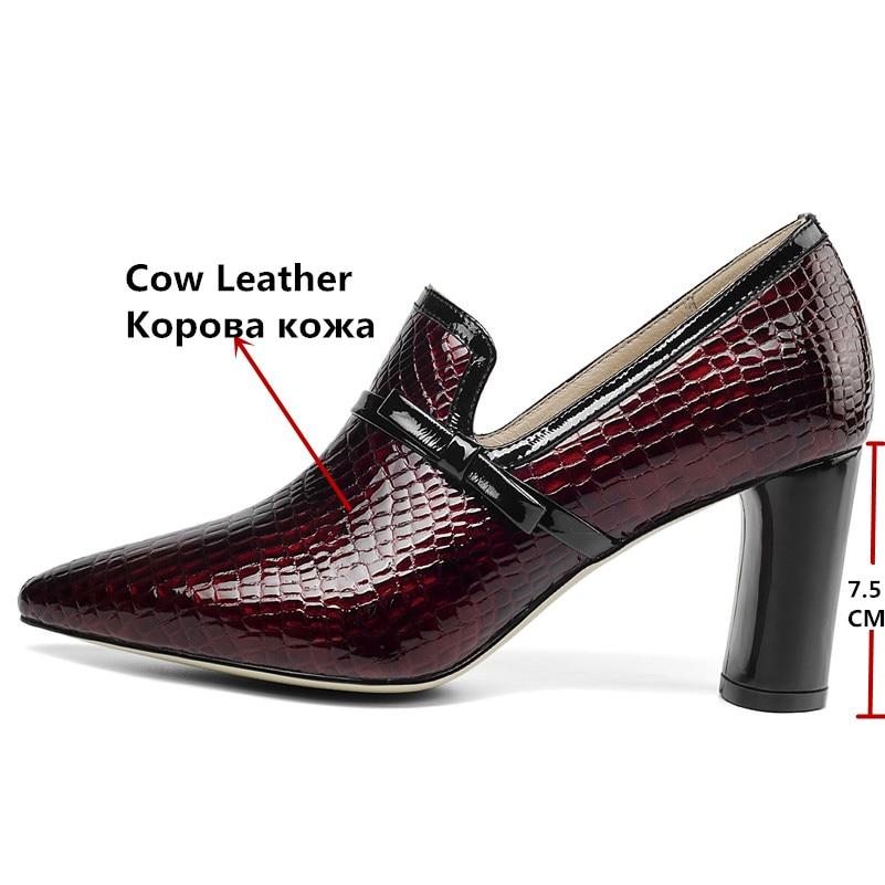 FEDONAS أعلى جودة عالية الكعب جلد طبيعي وأشار اصبع القدم أحذية الحفلات امرأة الانزلاق على الربيع الصيف العلامة التجارية مكتب مضخات أحذية-في أحذية نسائية من أحذية على  مجموعة 3