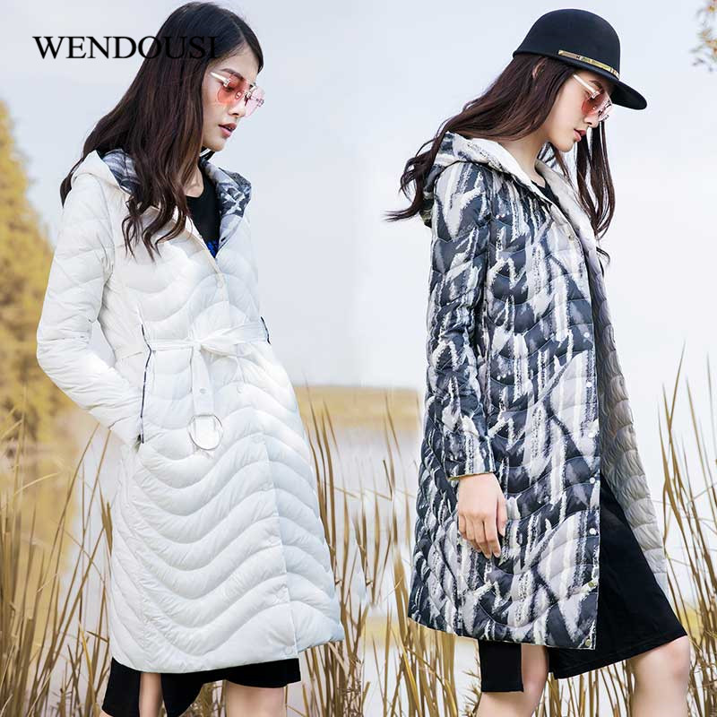 WENDOUSI New Two Side Wearable Ladies Coat Spring Autumn Women White Duck Down Jacket Female Hoode Long Parka Outwear QY1818