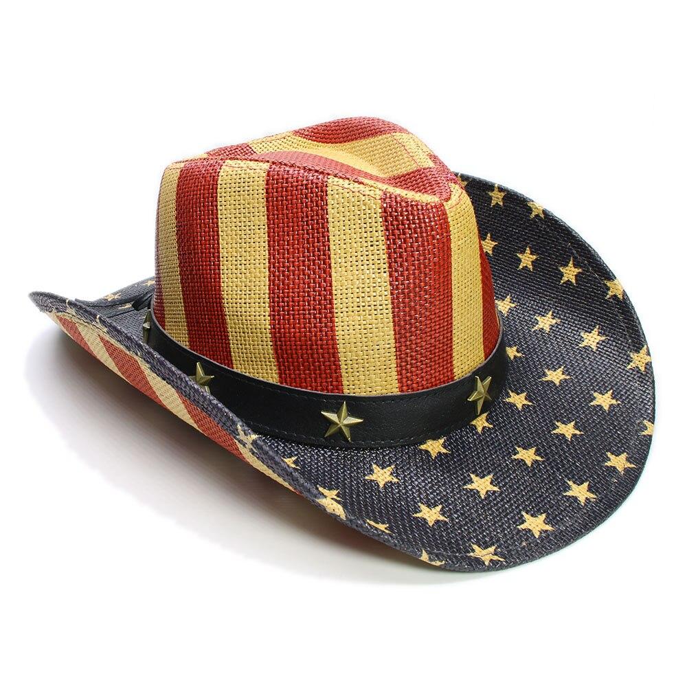 002503158fe LUCKYLIANJI Kid Child Children s Pentagram Stripes American Flag Wide Brim  Straw Sun Beach Cowboy Cowgirl Hat (54cm)-in Hats   Caps from Mother   Kids  on ...