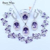 Niech Kobiety Kochają Tak dużo Obecne Wielu Kolorach Cyrkon Biały CZ 925 Znaczek Srebrny Kolor Zestawy Biżuterii Dla Kobiet Bardzo Ładne Bransoletki