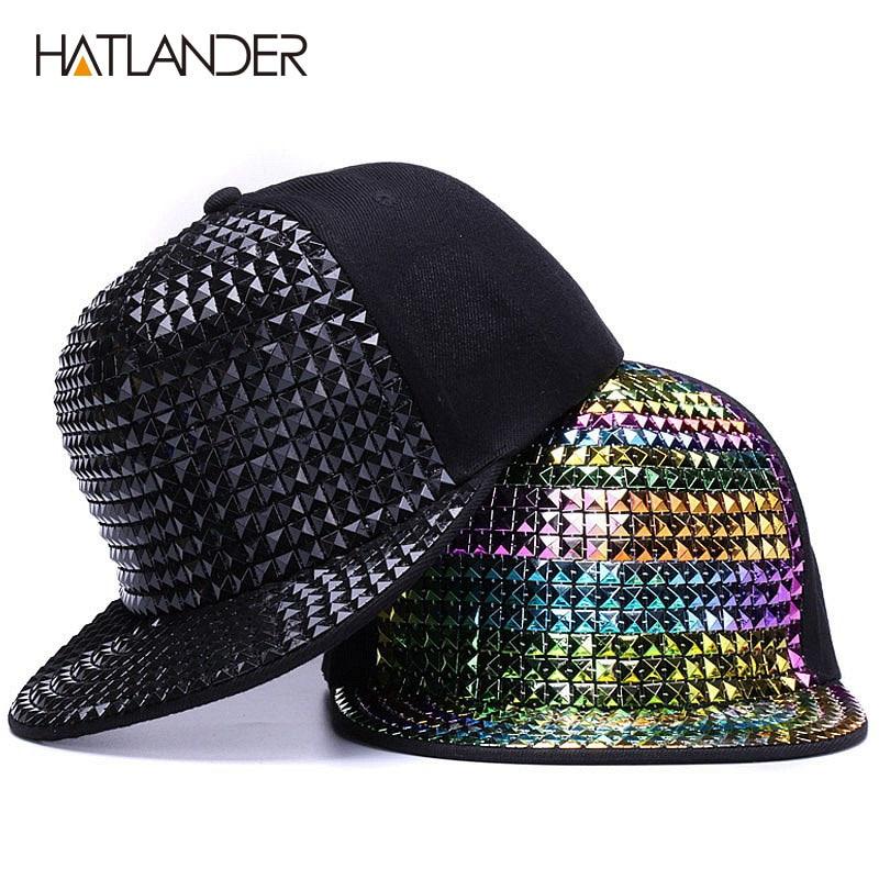 [HATLANDER]Personality Sequins Baseball Caps Flat Brim Outdoor Hats Girls Boy Bling Punk Snapback Cap Jazz Rock Cool Hip Hop Cap