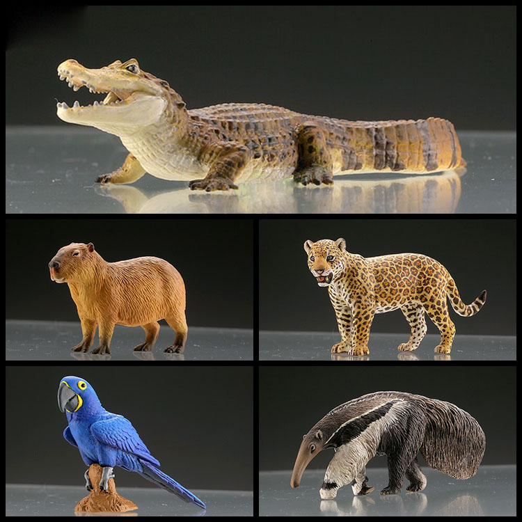 Japan Q Museum capsule toys WILD RUSH World Animal South America Rainforest macaw Giant anteater caiman Capybara Jaguar figures image