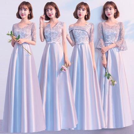 Beauty-Emily   Bridesmaid     Dresses   2019 Long V-neck Lace A-line Wedding Party Gown Formal   Dress   Robe De Soiree