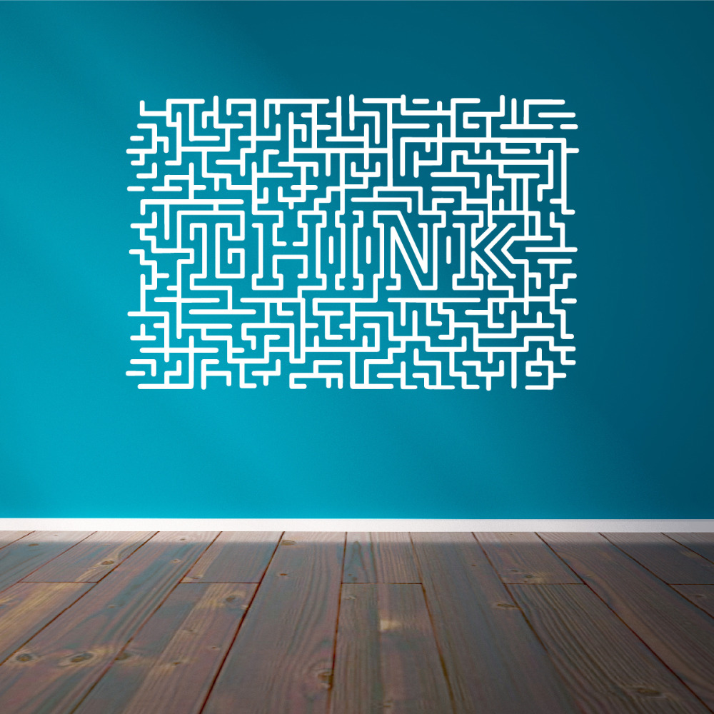 Easy Removable Think Art Stickers Home Decor Living Room Maze Wall ...
