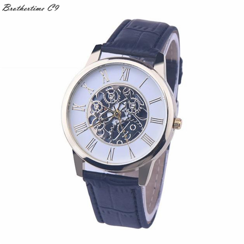 2016 Best Deal Fashion Golden hollow watch, Luxury Casual steel Men's Watch Business Imitate Mechanical Watch Male clock relogio