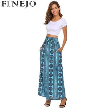 FINEJO Feminina Saias Summer Boho Beach Maxi High Elastic Waist Vintage Style Women Long Skirt Lace-up Casual Fashion Saia 2