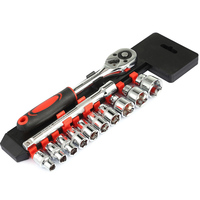 New high quality high carbon steel chrome 12 sleeve set fast ratchet wrench auto repair tool hand tool sets sale