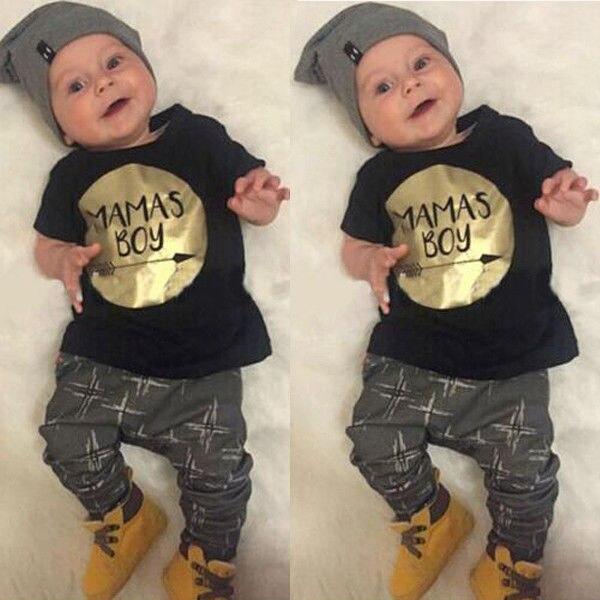 Newborn Baby Boy Clothes Short Sleeve MAMAS Boy T-shirt Top Pant 2pcs Outfit Bebek Giyim Clothing Set 0-24M 2016 new casual baby girl clothes 2pcs autumn clothing set floral hooded top pant outfits newborn bebek giyim 0 24m