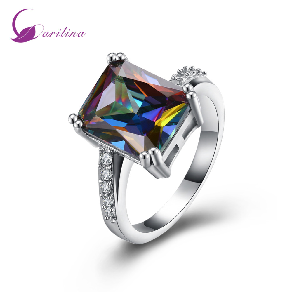 New Statement Jewelry Charms Silver Ring Rainbow Mystic Cubic Zirconia Gift Party Wedding Rings for women R2123