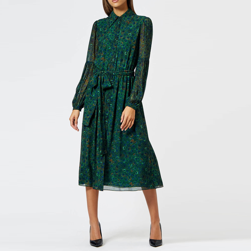 Long Dress Kate Middleton High Quality New Women Fashion Party Boho Beach Vintage Chic Peacock Feather