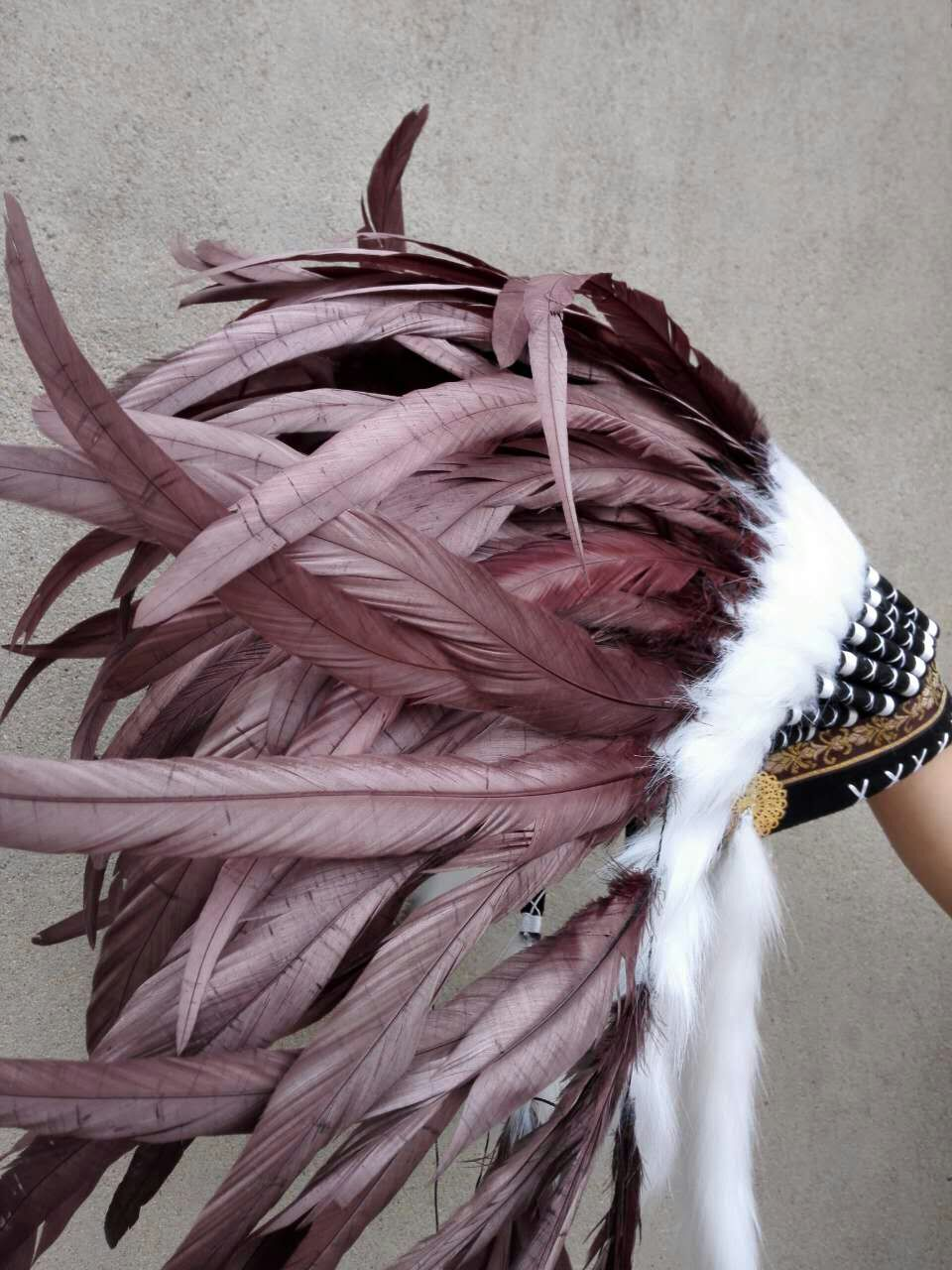 21 inch brown feather Headdress headpiece halloween feather costumes feather hat supply