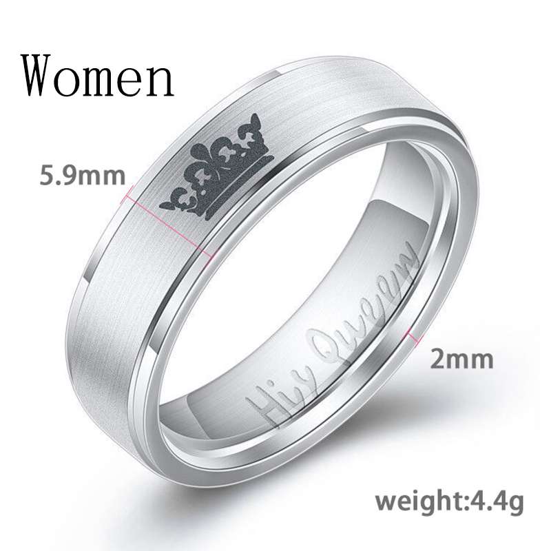 Women His Queen Stainless steel Ring Silver Color Simple Design Her King Couple Ring Wedding Ring for Female Men