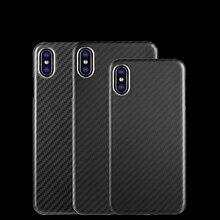 La actualización no afecta a la señal 100% carcasa de borde completo de fibra de carbono Real, funda ultraligera para iPhone ex XR XS MAX 8 7 6s, funda de carbono