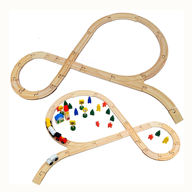 Wooden Railway Train Set Track Accessories Toy For Wooden Thomas Trains Model Wood Puzzle Vehicles Track Rail For Kids Birthday 78pcs hand crafted wooden train set triple loop railway track kids toy play set