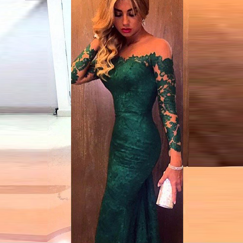 2015 Dark Green Lace Mermaid Evening Dress With Long Sleeve Prom ...